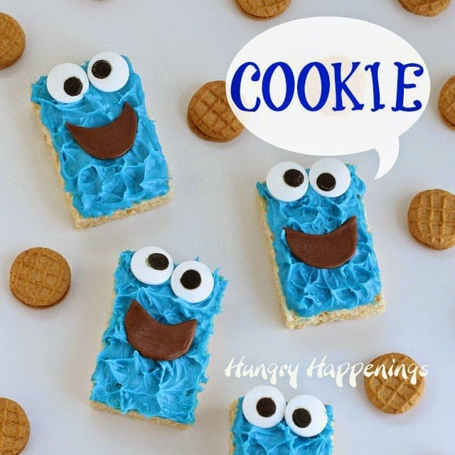 Your kids will go nuts over these adorably cute Cookie Monster Rice Krispie Treats and you are going to love how easy they are to make using store bought cereal treats.