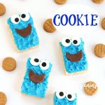 Cookie Monster Rice Krispie Treats with candy eyes, Tootsie Roll mouths, and mini Nutter Butter Cookies