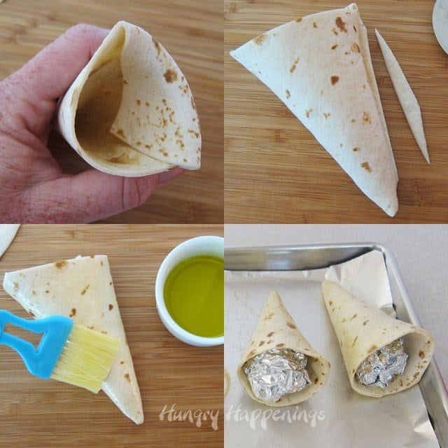 How to make baked tortilla cones