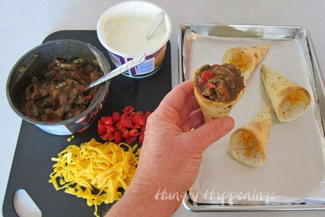Baked Tortilla Cones Filled with Philly Steak and Peppers