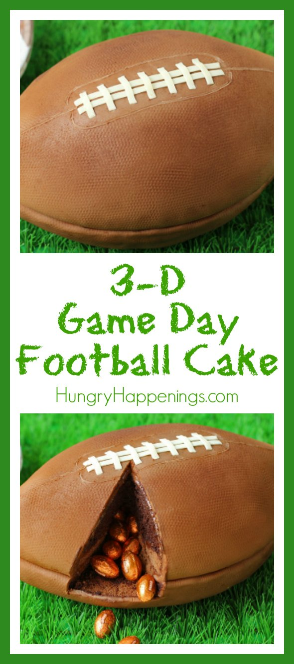 You'll score big if you serve this 3-D Game Day Football Cake on game day. Be careful and warn your guests that this isn't an actual football so they don't try to go and throw around the pig skin.
