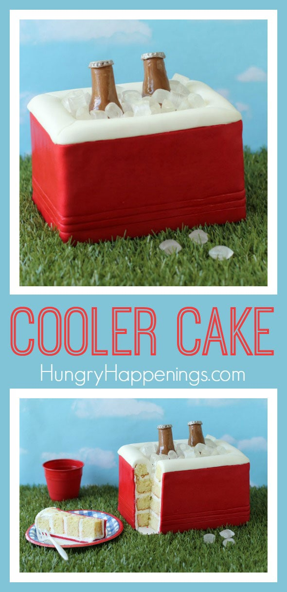 This red Cooler Cake looks almost like the real deal! With isomalt ice cubes and shiny modeling chocolate beer bottles, this is the perfect dessert for any tailgating party.