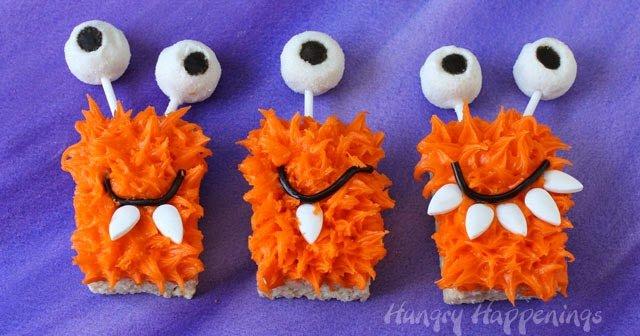 Rice Krispie Treat Monsters | HungryHappenings.com