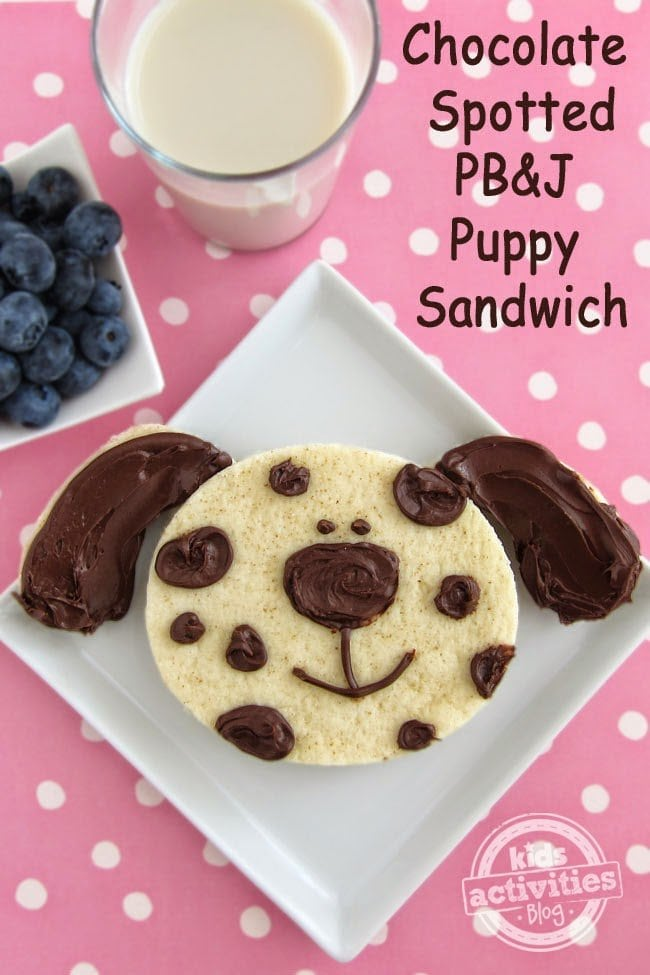 Chocolate Spotted PB&J Puppy Sandwich | HungryHappenings.com