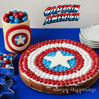 Captain America Cookie Cake, Candy Jar, and More Party Treats