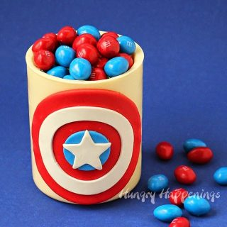 Captain America White Chocolate Candy Jar filled with M&M's