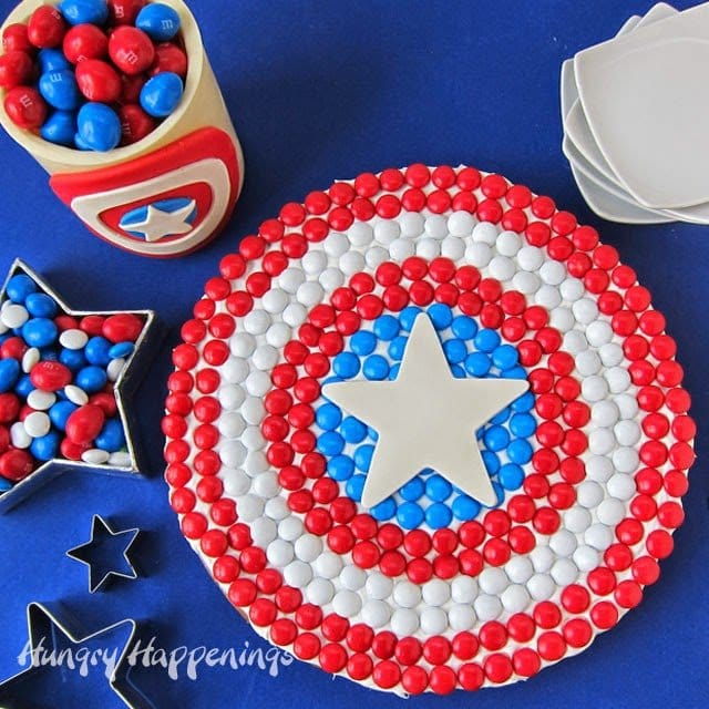 Captain America M&M's Cookie Cake | HungryHappenings.com