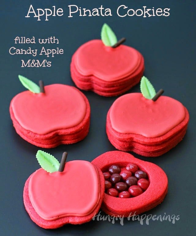 Apple Piñata Cookies with Candy Apple M&M's  | HungryHappenings.com