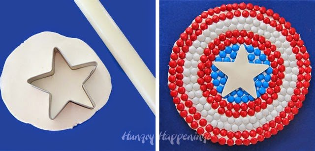 Red, White, and Blue M&M Cookie Cake  | HungryHappenings.com