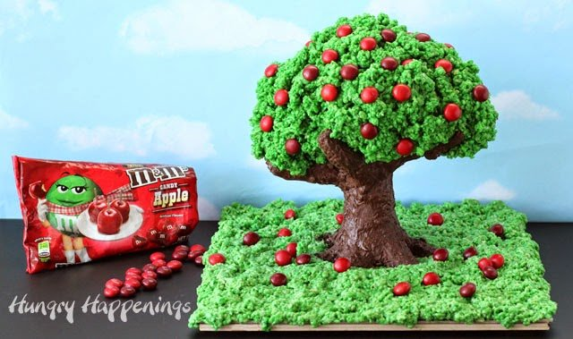 How to make Rice Krispie Treat Apple Tree  | HungryHappenings.com