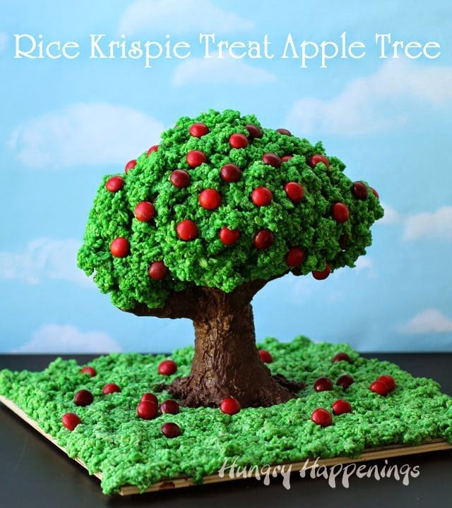 Rice Krispie Treat Apple Tree  | HungryHappenings.com
