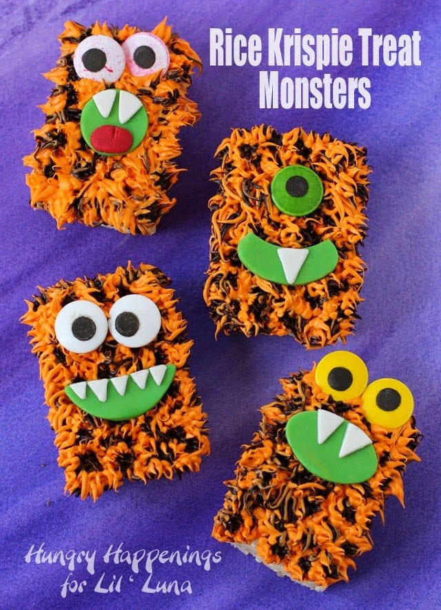 Orange and Black Rice Krispie Treat Monsters | HungryHappenings.com