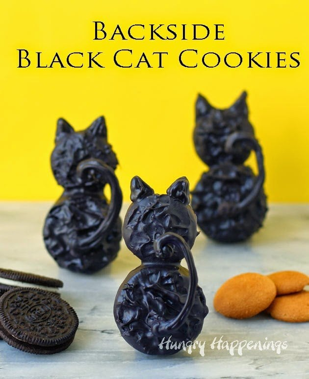 Backside Black Cat Cookies for Halloween | HungryHappenings.com