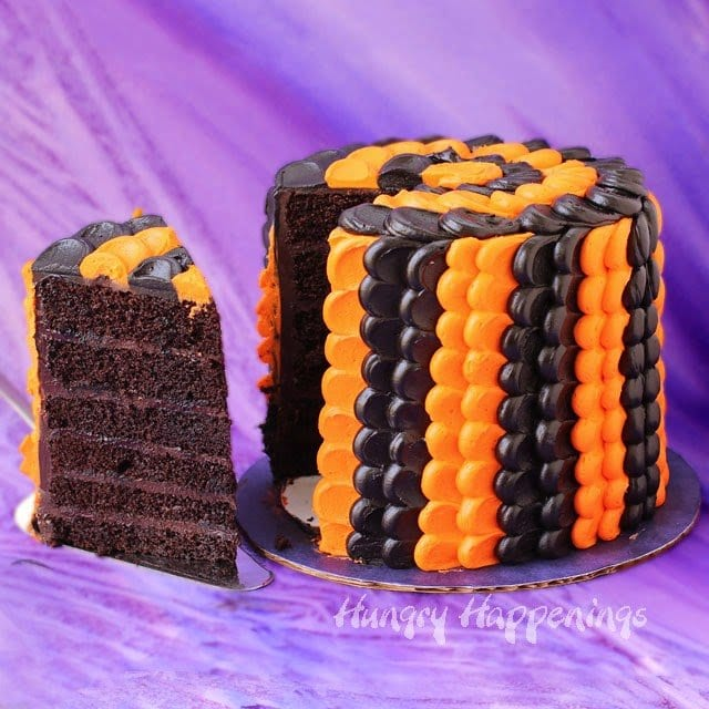 Black and Orange Halloween Petal Cake | HungryHappenings.com
