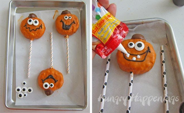 Jack-O-Lantern Rice Krispie Treat Pops