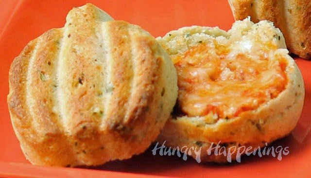Halloween Recipe Three-Cheese Calzone Pumpkins | HungryHappenings.com
