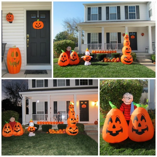 house decorated for a pumpkin carving Halloween party with pumpkin decorations