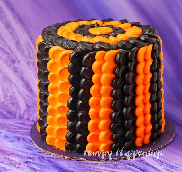 Halloween Black and Orange Pulled Dot Cake | HungryHappenings.com