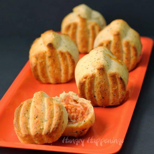 Three-Cheese Calzone Pumpkins   HungryHappenings.com