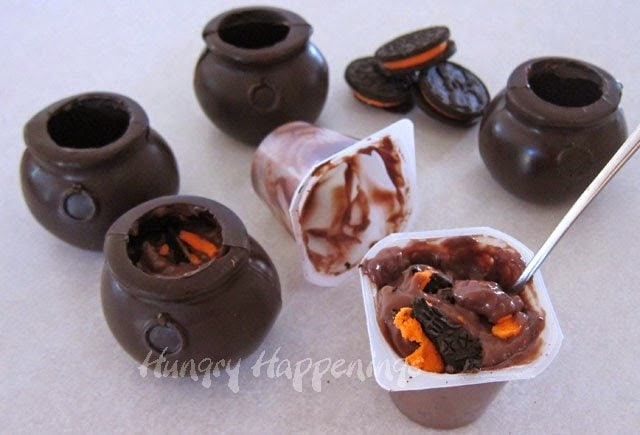 Oreos and Snack Pack Pudding Filled Chocolate Cauldrons