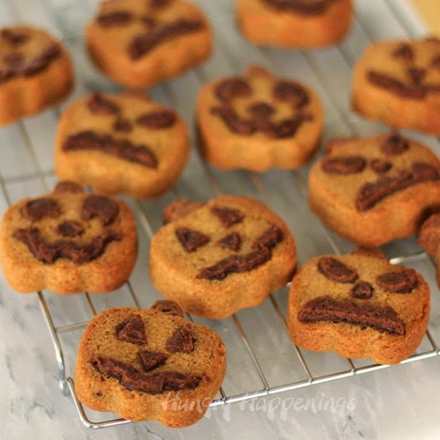 Peanut Butter Pumpkin Shaped Cookies with Faces