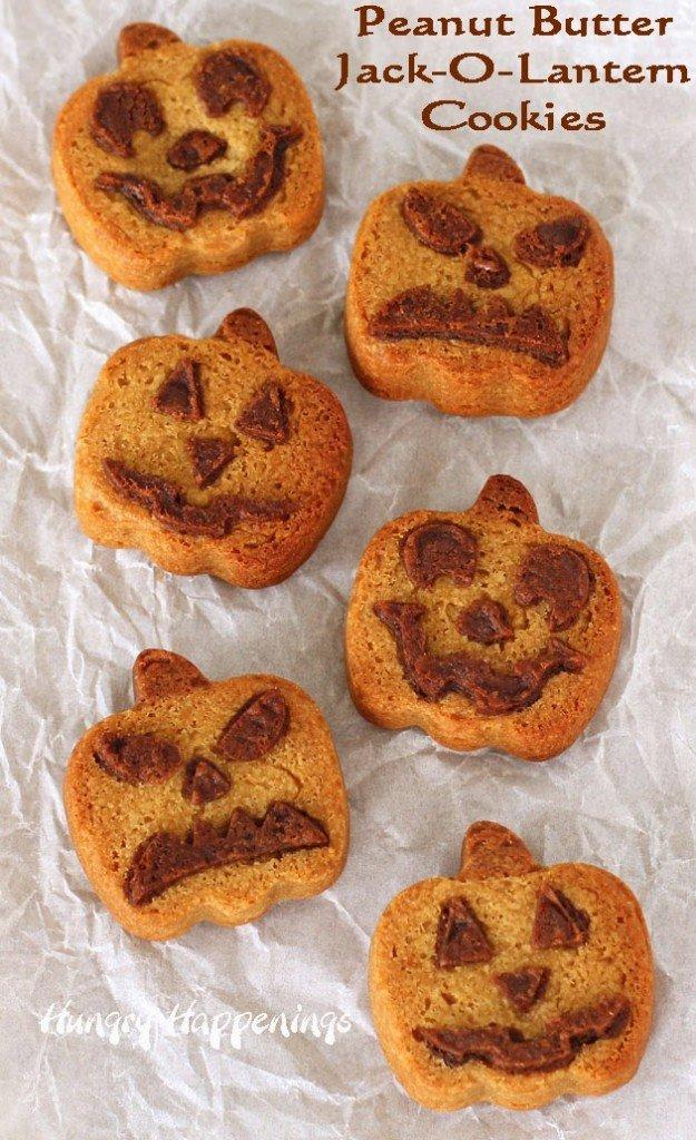 Peanut Butter Jack-O-Lantern Cookies | HungryHappenings.com