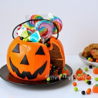 Pumpkin Pail Cake filled with Halloween Candy