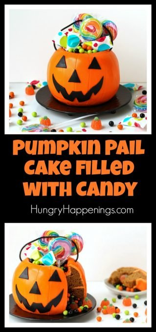 Pumpkin Pail cake filled with Halloween candy.
