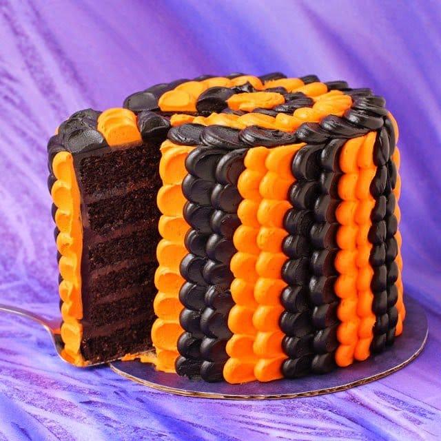 Halloween Black and Orange Petal Cake | HungryHappenings.com