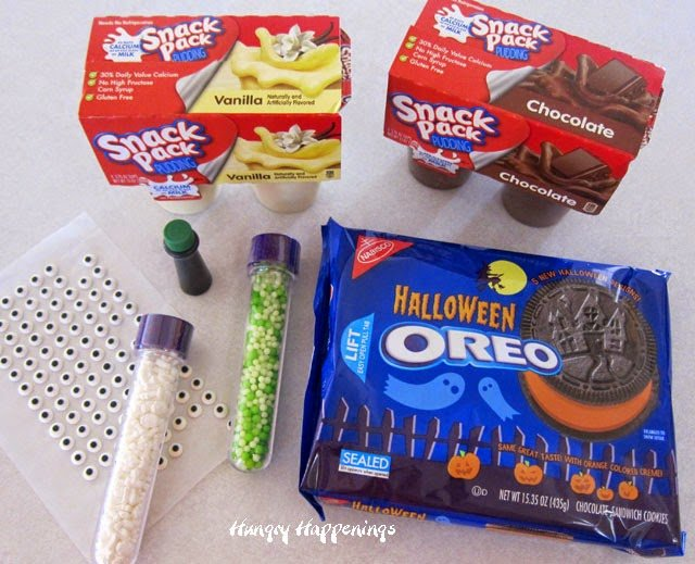Snack Pack Pudding and Halloween Oreos