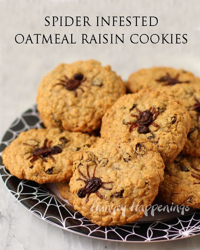 Spider Infested Oatmeal Raisin Cookies | HungryHappenings.com