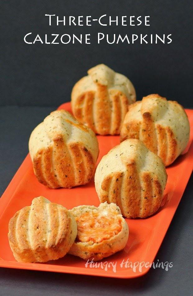 Three Cheese Calzone Pumpkins   HungryHappenings.com