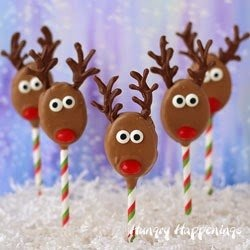 Chocolate Rudolph Lollipops Christmas Recipe | HungryHappenings.com