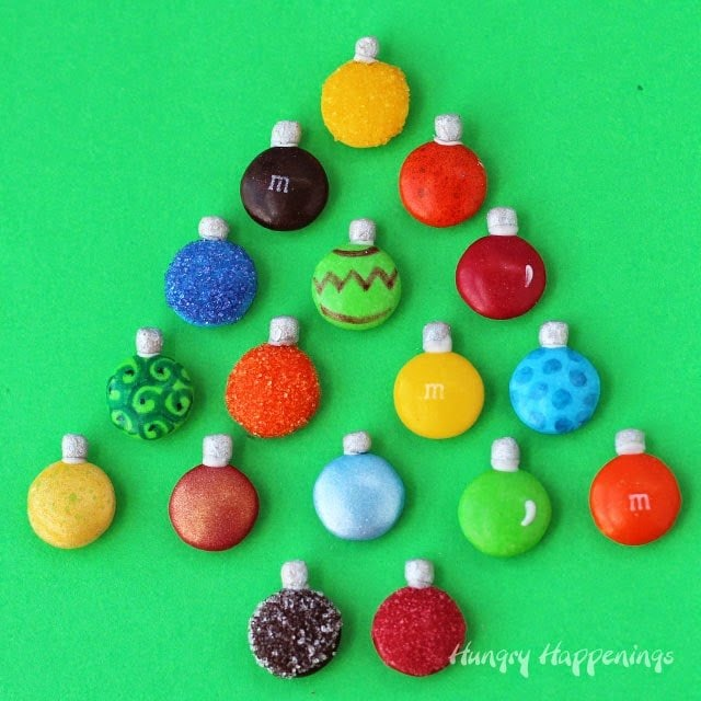 "Add Mega M&M Christmas Ornaments to your ""tree."" 