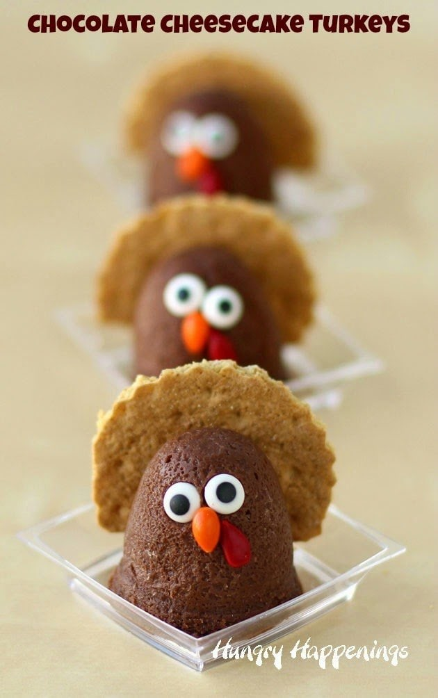 Chocolate Cheesecake Turkeys | Holiday Recipes by HungryHappenings.com
