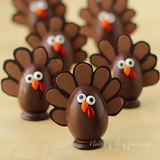 chocolate truffle turkeys with candy eyes, beak, and wattle