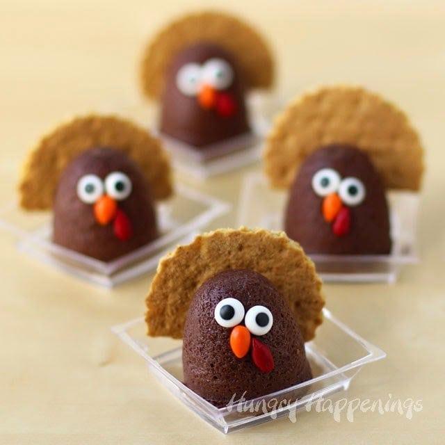 chocolate cheesecake turkeys with candy eyes, beak, and wattle