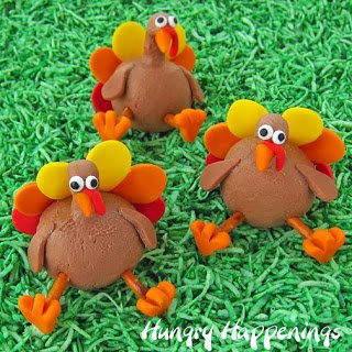 peanut butter fudge turkeys decorated with red, orange, and yellow modeling chocolate
