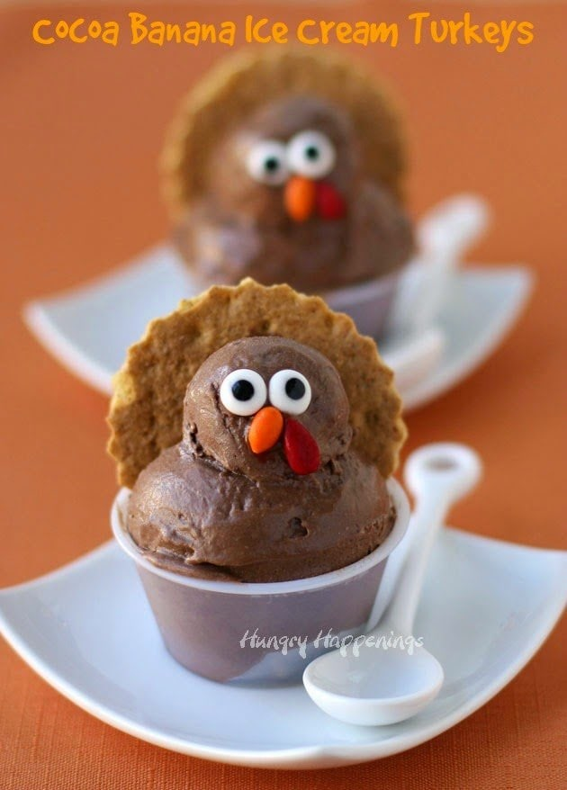 These adorable Cocoa Banana Ice Cream Turkeys are healthy and super simple to make. | HungryHappenings.com