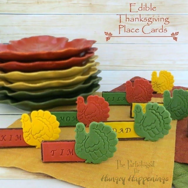 thanksgiving cookie and fondant place cards