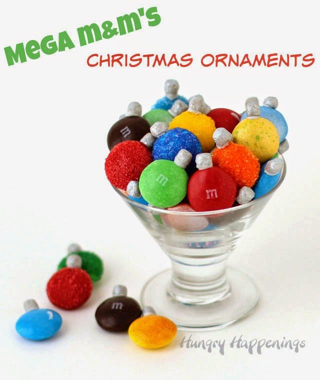 Mega M&M's Christmas Ornaments are a super easy holiday craft for kids or adults from HungryHappenings.com