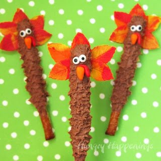 chocolate dipped pretzel turkeys