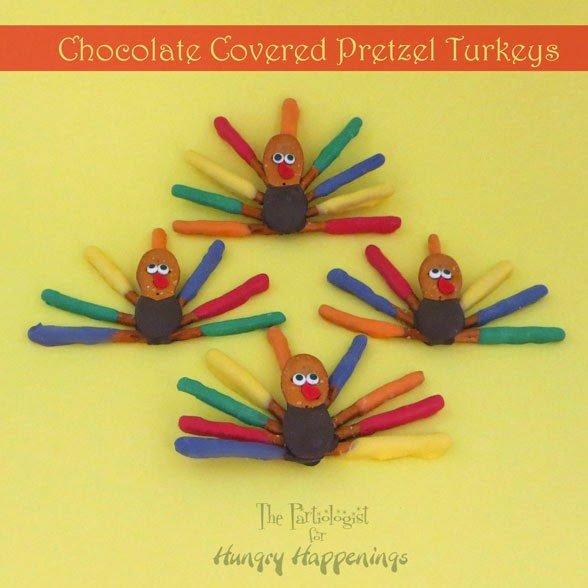 chocolate covered pretzel turkeys