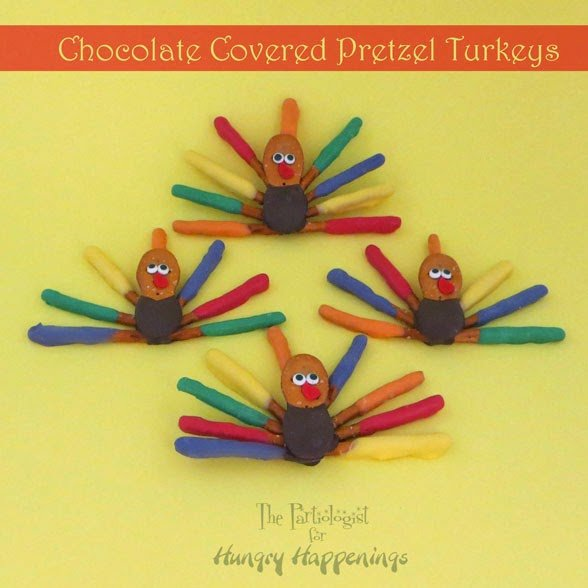 Chocolate Covered Pretzel Turkeys | ThePartilogist.com