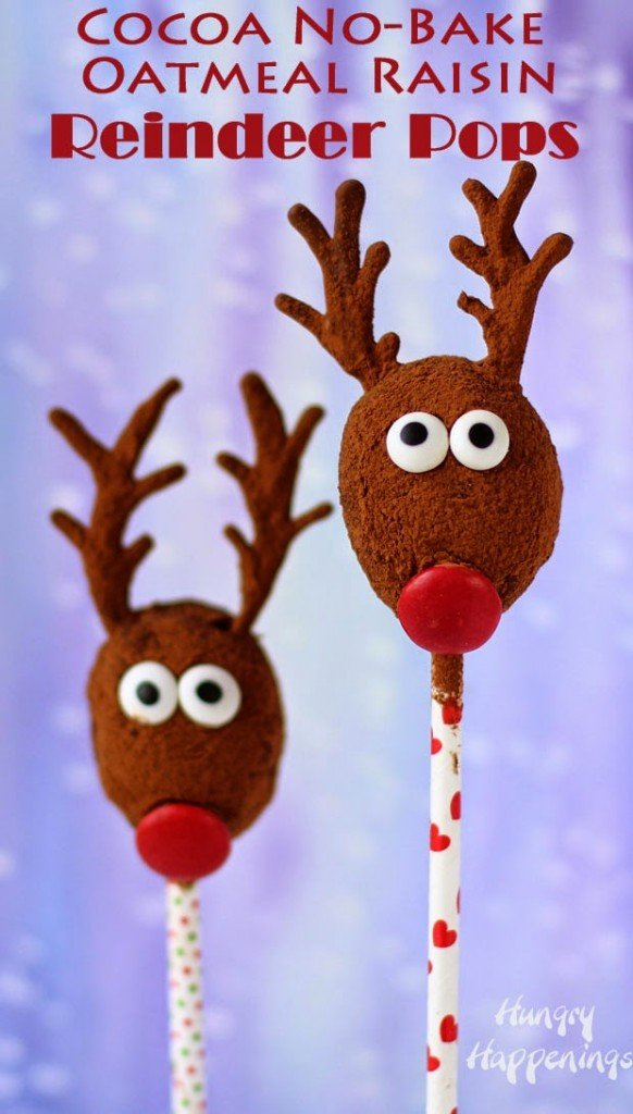 Cocoa No-Bake Oatmeal Raisin Reindeer make a healthier alternative to holiday sweets from HungryHappenings.com
