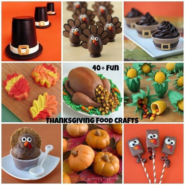 fun Thanksgiving recipes and food crafts including Chocolate Pilgrim Hats, Pumpkin Turkey Truffles, Turkey Cake, Cheesecake Leaves, Rice Krispie Treat Turkey Pops, and more.