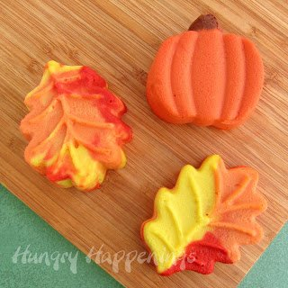 colorful cheesecake leaves and a cheesecake pumpkin