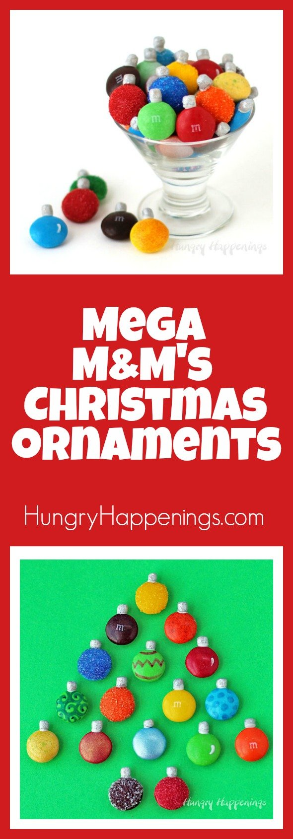 The moment I opened my first package of Mega M&M's I could see so many edible craft possibilities including these Mega M&M's Christmas Ornaments. You can add these festive candies to a Christmas tree cake or cookie, simply stack them in a candy jar, or if you are ambitious, string them and hang them on an actual tree.