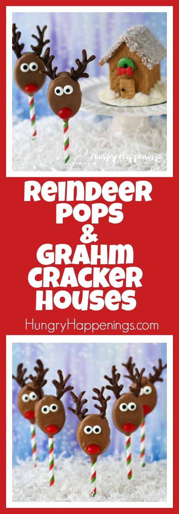 This weekend I had a blast working in the kitchen creating these festive Reindeer Pops and Graham Cracker Houses using Honey Maid Graham Crackers and Skippy Peanut Butter as part of a sponsored post for Collective Bias on behalf of it's advertisers. #PBandG  #CollectiveBias