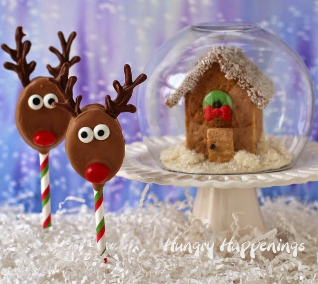 Sweet Homemade Christmas Treats. Reindeer Pops and Graham Cracker House from HungryHappeings.com